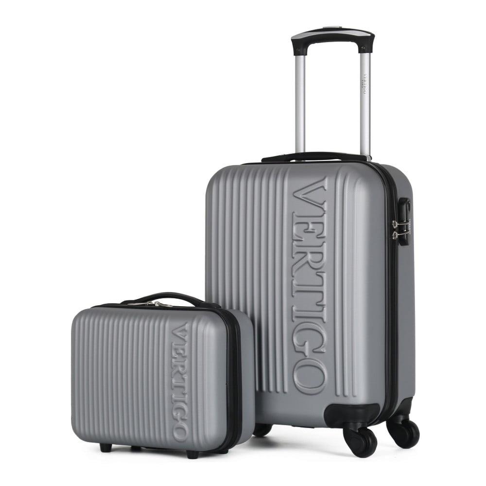 Sada sivého cestovného kufra na kolieskach a menšieho kufríka VERTIGO Valises Cabine & Vanity Case