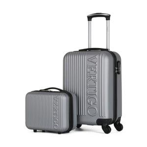 Sada 2 sivých cestovných kufrov na kolieskach VERTIGO Valises Cabine & Vanity Case
