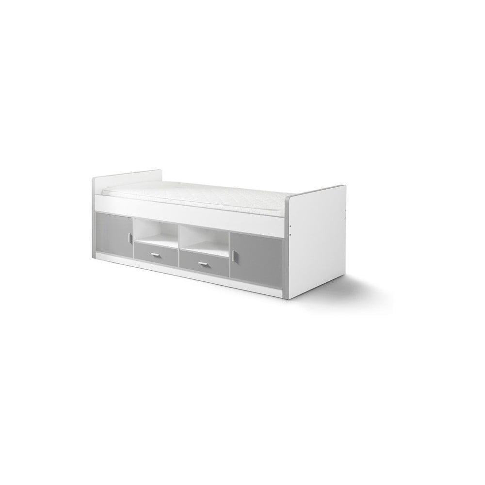 Sivá detská posteľ s úložným priestorom Vipack Bonny, 200 × 90 cm