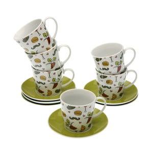 Set 6 porcelánových šálok s tanierikmi Versa Francia, 220 ml