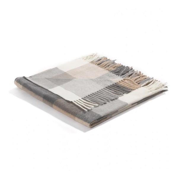 Pléd Biederlack Karo Grey, 170 x 130 cm