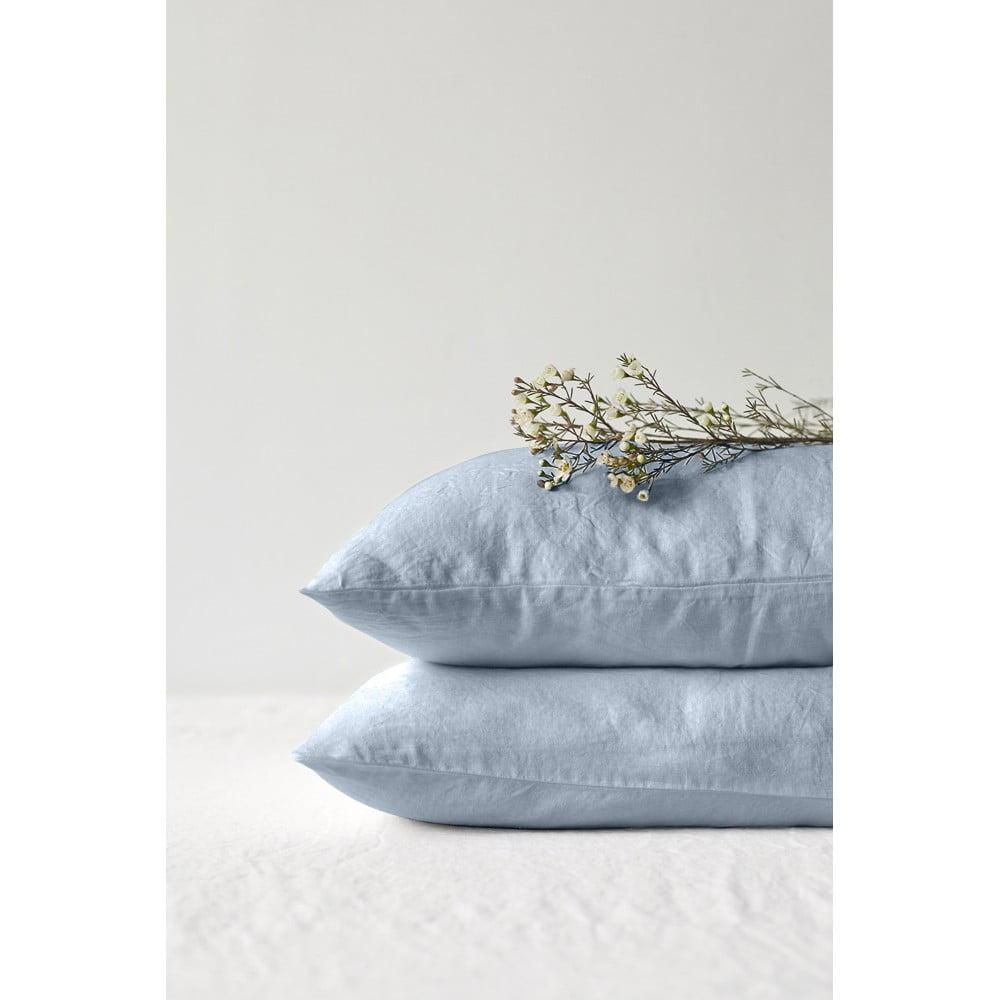 Svetlomodrá ľanová obliečka na vankúš Linen Tales, 70 x 90 cm
