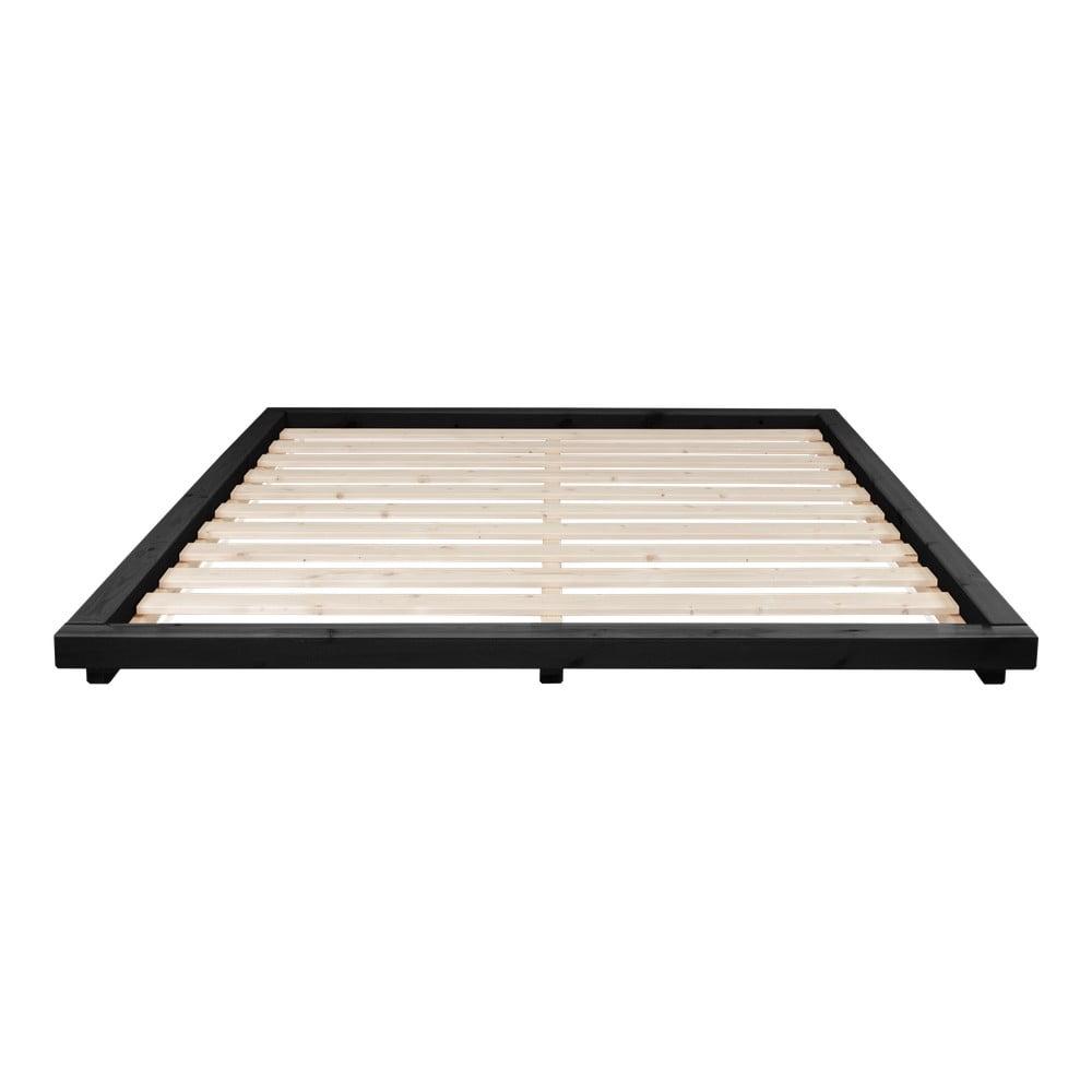 Posteľ z borovicového dreva v čiernej farbe Karup Design Dock, 160 × 200 cm