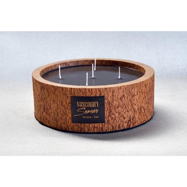 Palmová sviečka Legno Round s vôňou vodného kvetu, 80 hodín horenia