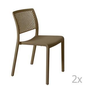 Sada 2 hnedých záhradných stoličiek Resol Trama