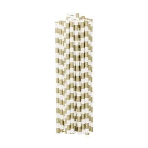 Balenie 25 papierových slamiek Gold Stripes