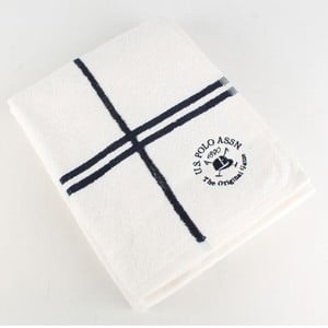 Osuška US Polo Bath Towel White and Navy, 70x140 cm