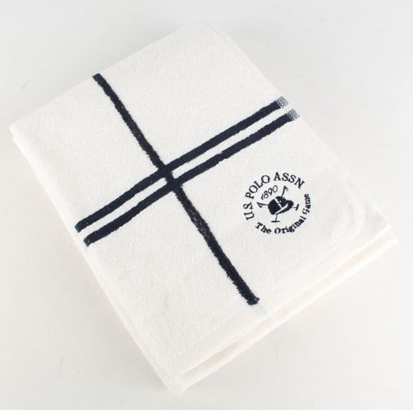 Osuška US Polo Bath Towel White and Navy, 70x140 cm