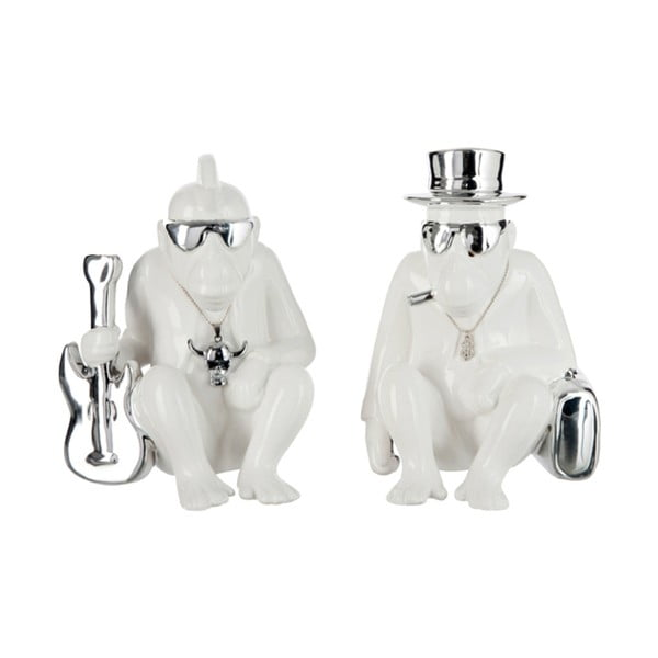 Sada dvoch dekorácií Monkey, biela