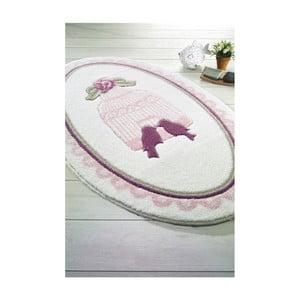Ružová predložka do kúpeľne Confetti Bathmats Birdcage, 66 x 107 cm