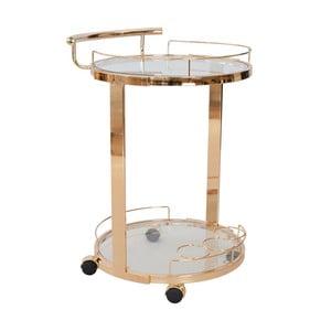 Medený okrúhly sklenený servírovací stolík RGE Louise