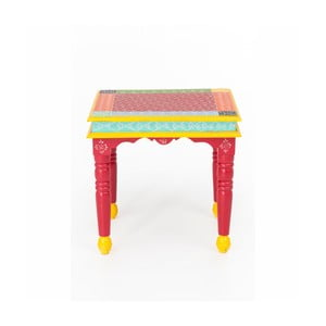 Odkladací stolík z akáciového dreva WOOX LIVING India Colore, 53 × 53 cm