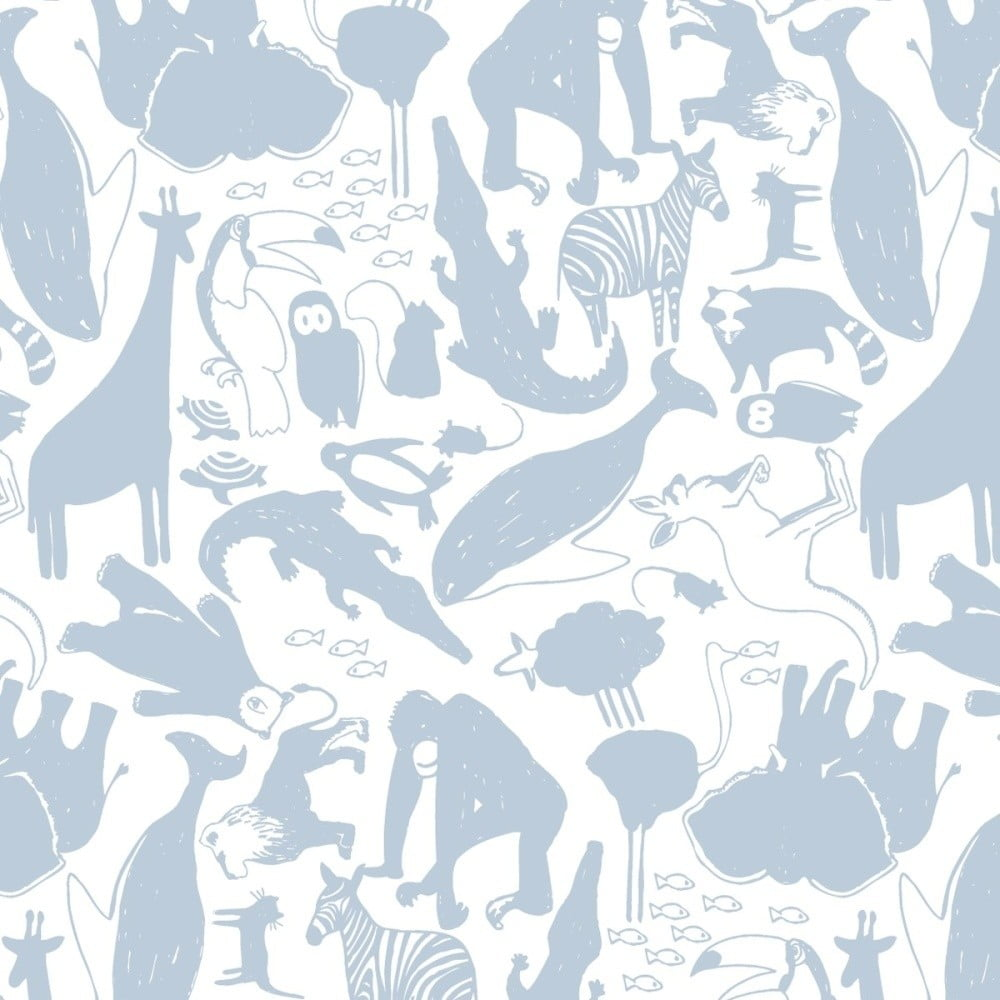 Modrá tapeta do detskej izby Art For Kids Animals, 48 × 1000 cm