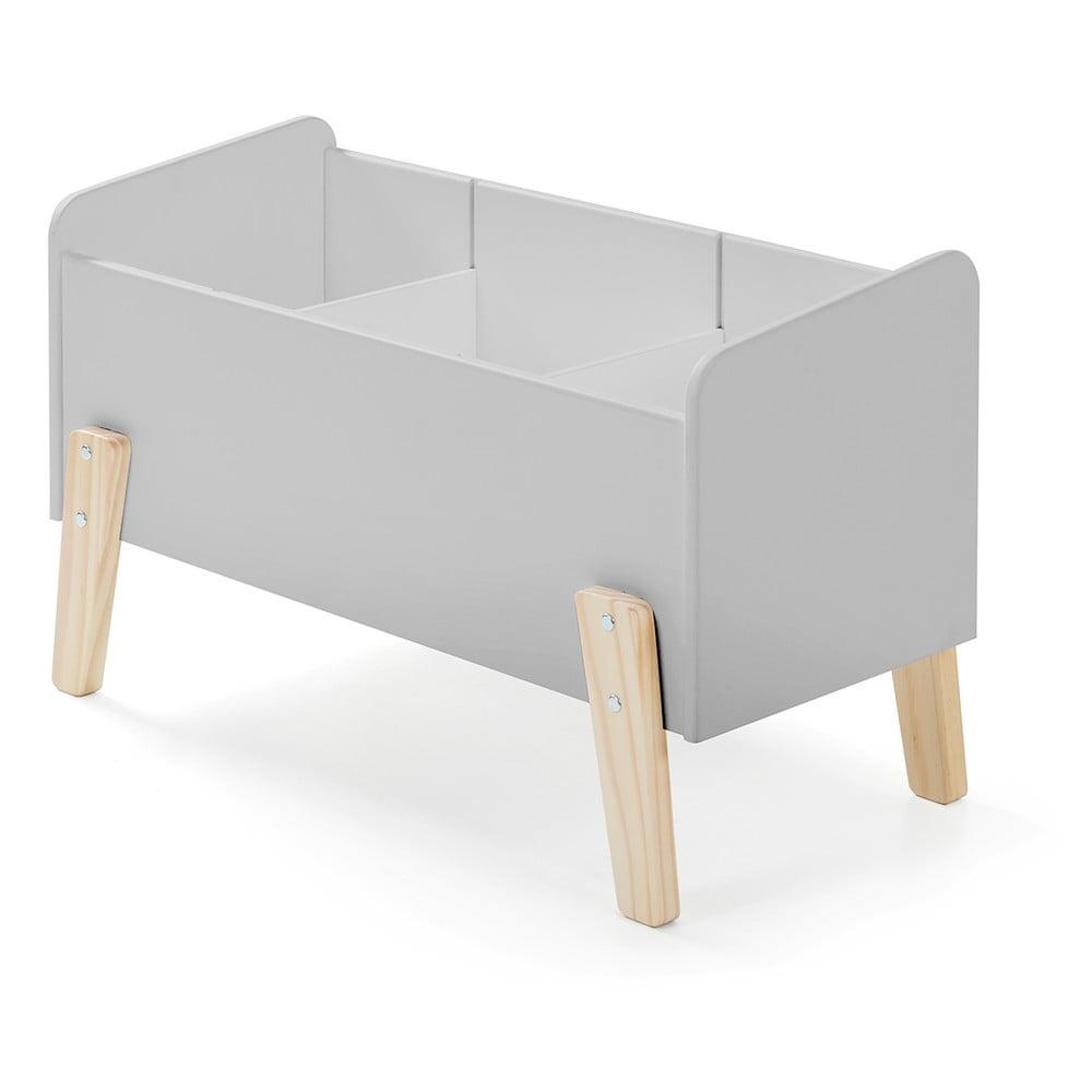 Sivá postieľka pre hračky z masívneho borovicového dreva Vipack Kiddy