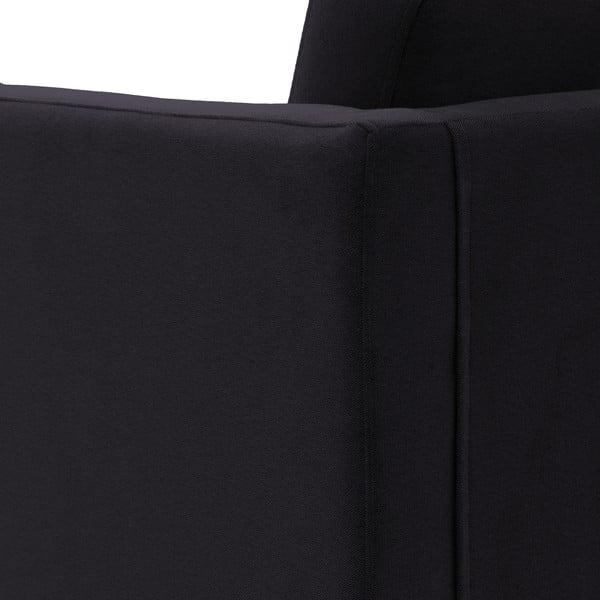 Tmavosivá trojmiestna pohovka VIVONITA Sondero, ľavá strana a čierne nohy