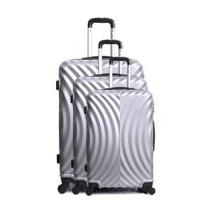 Sada 3 cestovných kufrov v striebornej farbe na kolieskach Hero Lagos