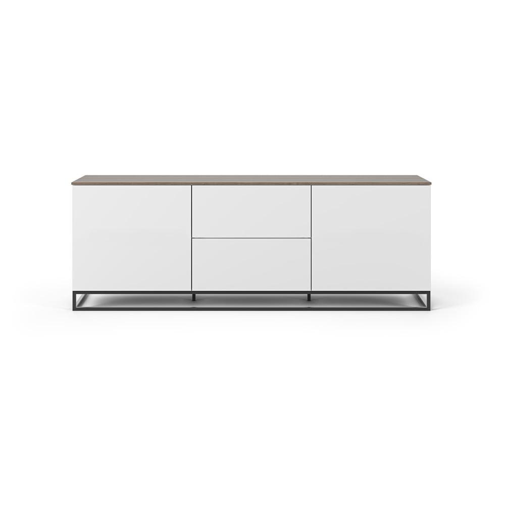 Biely televízny stolík s doskou z orechového dreva a čiernymi nohami TemaHome Join, 180 × 65 cm