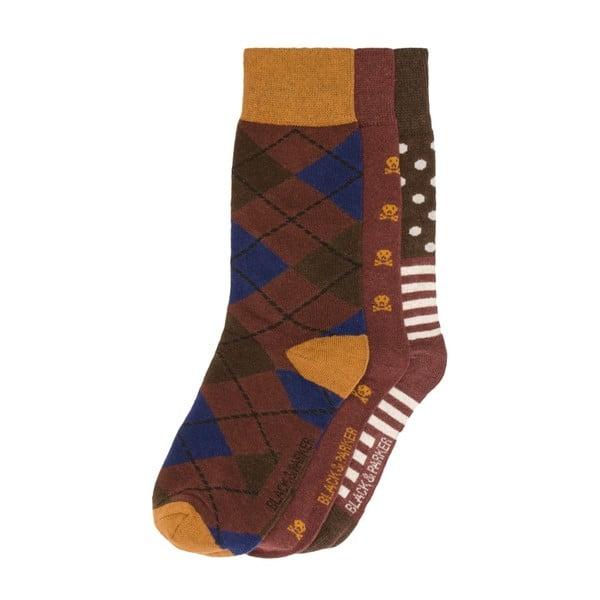 Sada 3 párov vysokých unisex ponožiek Black&Parker London Porter, veľkosť 37/43