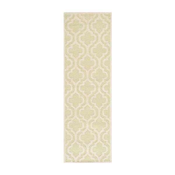 Vlnený koberec Lola 76x243 cm, zelenkavý