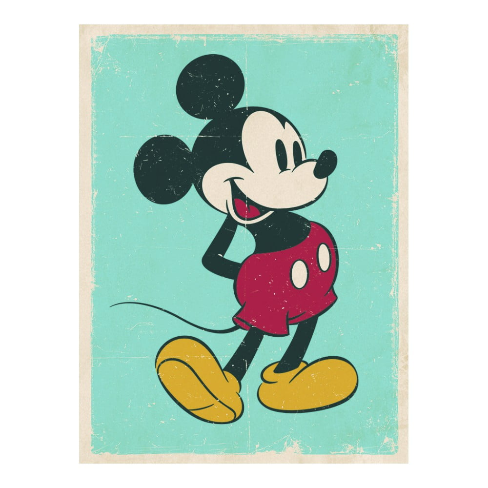 Obraz Pyramid International Mickey Mouse Retro, 30 × 40 cm