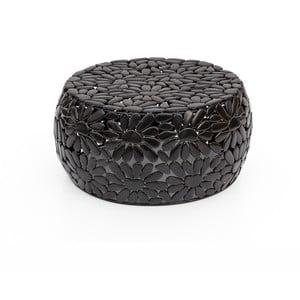 Čierny konferenčný stolík WOOX LIVING Floral, ⌀ 56 cm