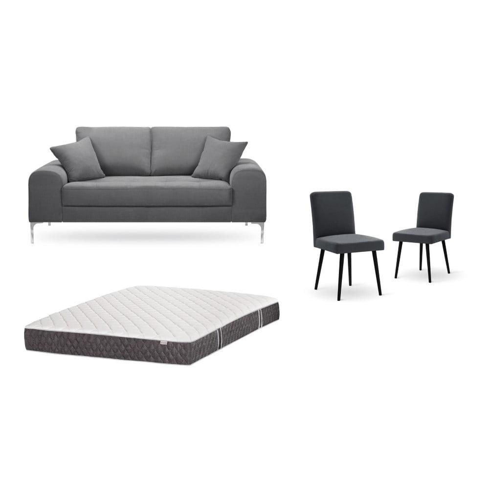 Set dvojmiestnej sivej pohovky, 2 antracitovosivých stoličiek a matraca 140 × 200 cm Home Essentials