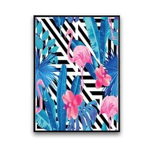 Plagát s pelikánmi a modrými listami, 30 x 40 cm