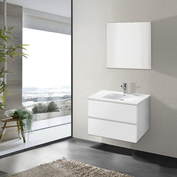 Kúpeľňová skrinka s umývadlom a zrkadlom Flopy, odtieň bielej, 70 cm