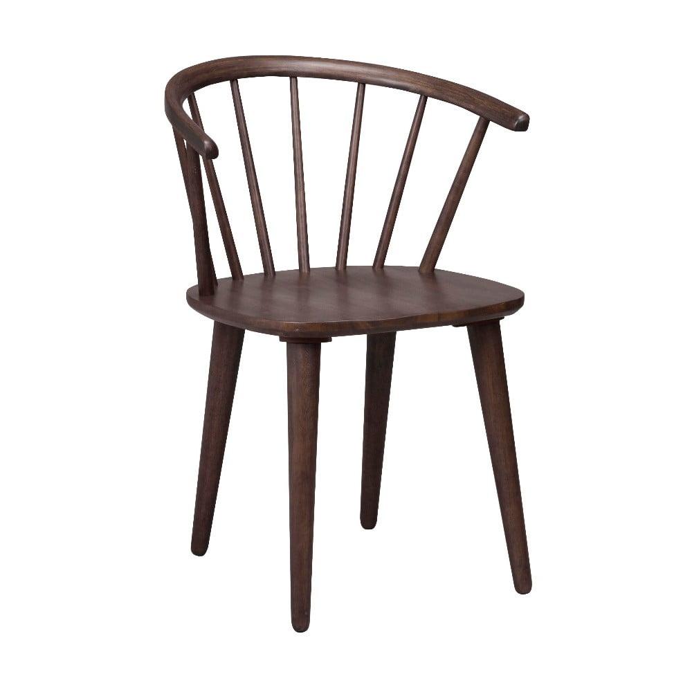 Tmavohnedá jedálenská stolička z dreva kaučukovníka Rowico Carmen