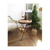 Príručný stolík s odnímateľnou drevenou doskou Orchidea Milano Country, ⌀ 47 cm
