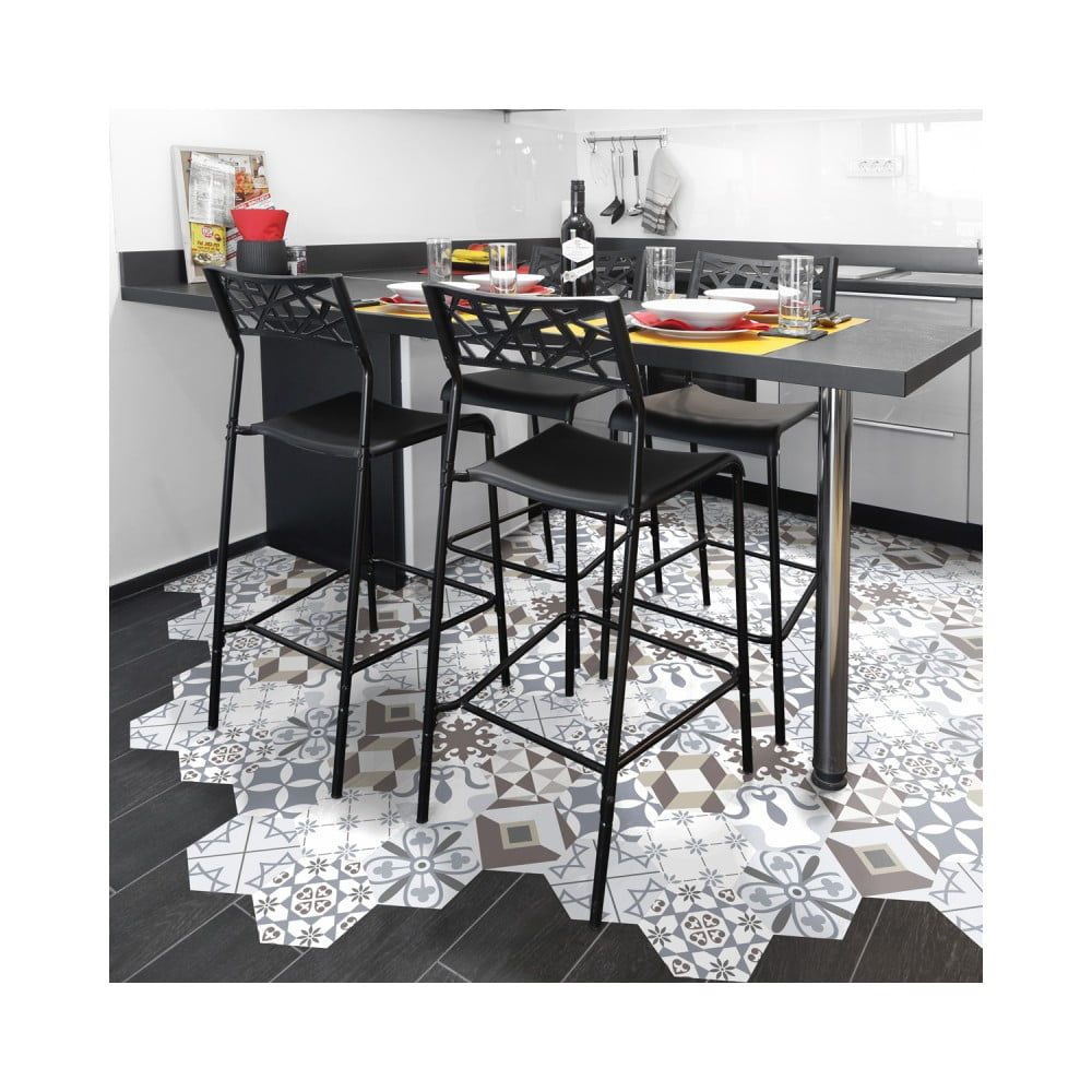 Sada 10 samolepiek na podlahu Ambiance Floor Stickers Hexagons Mariana, 40 × 90 cm