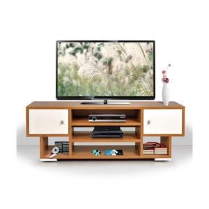 Televízny stolík Uno, krémový/bambus