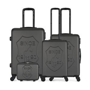 Sada 4 tmavosivých cestovných kufrov na kolieskach GENTLEMAN FARMER Integre & Vanity