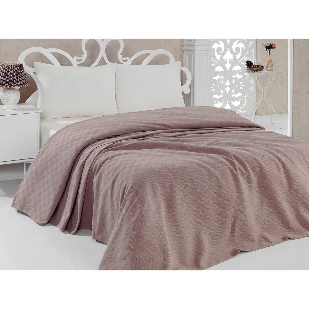 Prikrývka na posteľ Pique Pink, 160x240 cm