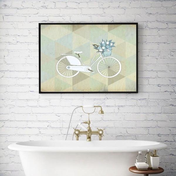 Plagát v drevenom ráme Blue Bike, 38x28 cm