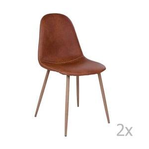 Sada 2 hnedých stoličiek s hnedými nohami House Nordic Štokholm