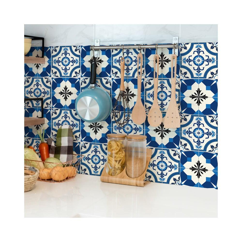 Sada 24 nástenných samolepiek Ambiance Wall Stickers Tiles Zina, 10 × 10 cm