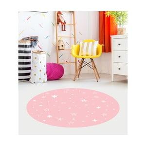 Ružový detský koberec Floorart Stars, ⌀ 100 cm