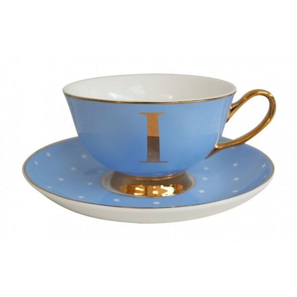 Modrý hrnček s tanierikom s písmenom I Bombay Duck