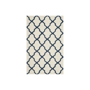 Vlnený koberec Ava 152x243 cm, biely/modrý
