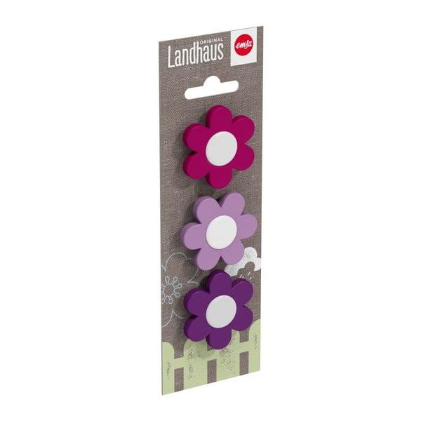 Dekoratívne klipsy na kvetináč Flower Violet/Light Violet/Pink, 3 ks