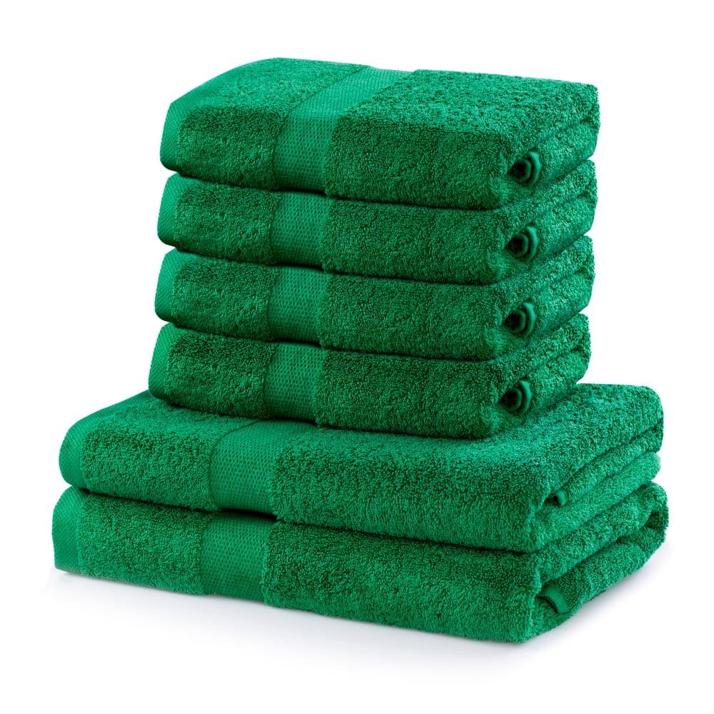 Set 2 bavlnených zelených osušiek a 4 uterákov DecoKing Marina
