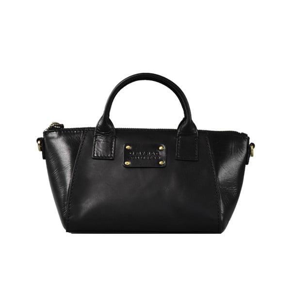 Čierna kožená kabelka O My Bag Fly Violet Nano