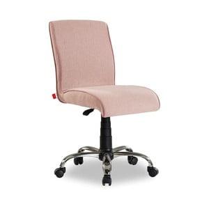Svetloružová stolička na kolieskach Soft Chair Pink