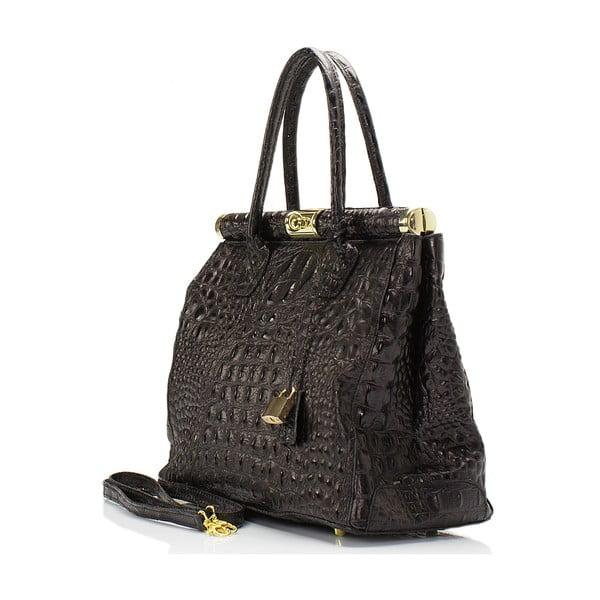 Tmavohnedá kožená kabelka Lisa Minardi Lantha