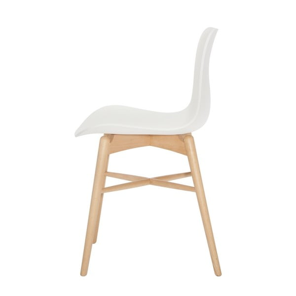 Biela jedálenská stolička z masívneho bukového dreva NORR11 Langue Natural