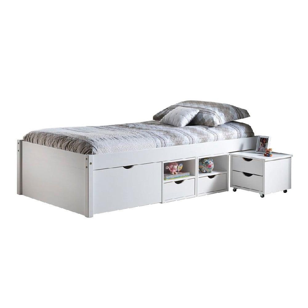 3ce6c32bd5f2 Biela drevená posteľ s úložným priestorom 13Casa Leon
