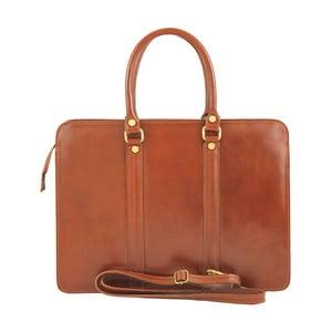 Hnedá kožená kabelka Chicca Borse Tommi