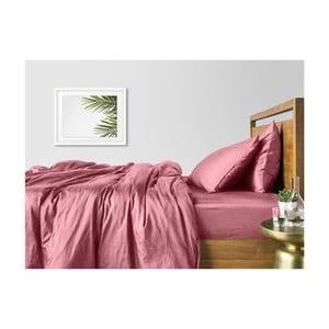 Sada 2 ružových bavlnených obliečok na jednolôžko s ružovou plachtou COSAS Lago, 160×220cm