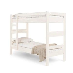 Biela ručne vyrobená poschodová posteľ zmasívneho brezového dreva Kiteen Kuusamo, 80×200cm